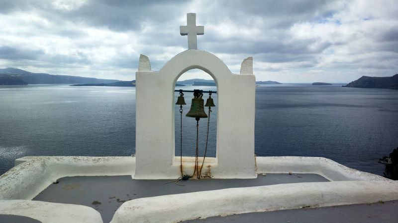 || Street Journals || Santorini , Greece TheFoneFanatic Nokia  Nokia808 Vacations Mobilephotography PhonePhotography Streetphotography Sea Whitewashed Cross Religion Place Of Worship Summer Sky Arch Bell