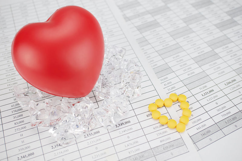 Yellow pills place as heart shape on finance report have blur red heart on stack of ice as background. Business Care Cool Drug Ice Medicine PainKiller Red Account Concept Document Dose Finance Health Heart Illness Narcotic Paper Paperwork Pile Pill Success White Workload Yellow