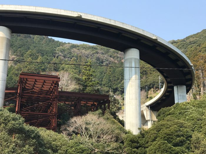 Japan Bridge - Man Made Structure Connection Built Structure Architecture Day Tree Transportation Plant No People Nature Train - Vehicle Outdoors Clear Sky Growth Grass Sky Steam Train