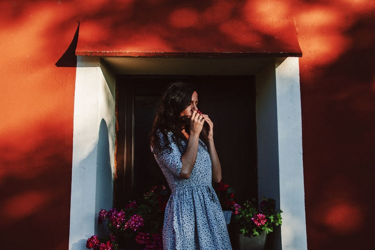 Pink Color Outdoors Light And Shadow Woman Red Color Shadow Window Red Wall Flowers Spring Springtime spring into spring Spring Flowers