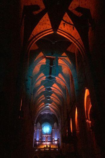 Marienkirche Reutlingen Kirchenschiff Colorful Lights Parallel Lines No Flash/no Edit Lightshow Medieval Architecture Architecture_collection Church Orgelkonzert Light And Shadow