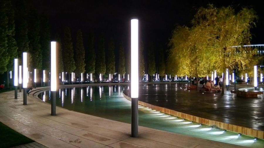 Park Garden Night Mobilephotography Tree Water City Illuminated Architectural Column Swimming Pool Sky