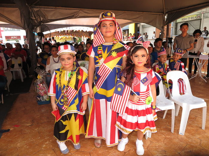 Contest HappyMalaysiaDay Arts Culture And Entertainment Child Girls Group Of People Happiness Looking At Camera Outdoors