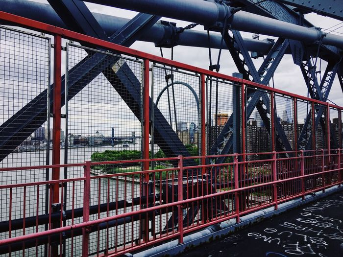 Bridge - Man Made Structure Engineering Connection Metal Built Structure Railing Architecture Transportation Sky Travel Destinations City Suspension Bridge Outdoors Travel Day Bridge No People Water New York City Williamsburg Bridge Williamsburg Brooklyn