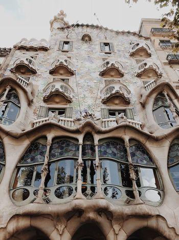 Barcelona Antoni Gaudí Casa Batllo Low Angle View Architecture Day Built Structure One Person Real People Lifestyles Human Body Part The Past Indoors  Travel Destinations Sky Window Pattern Ornate Human Face Close-up Tourism History Design