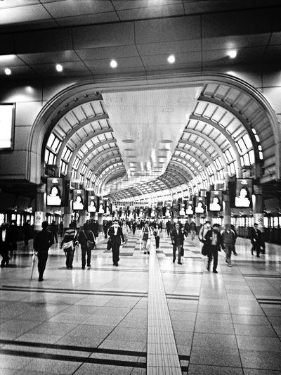 Station. Black And White Public Transportation