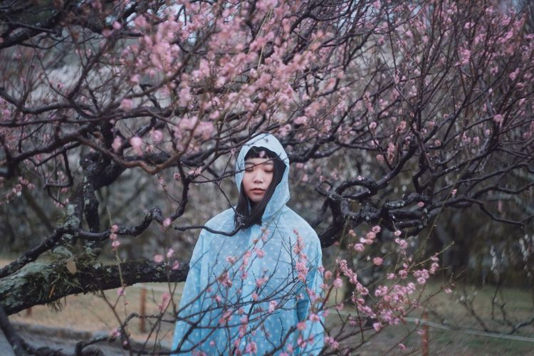 Rainy plum Girl Woman Colors Fashion Cherry Blossom Cherry Tree Nature Beauty In Nature Front View Outdoors One Person