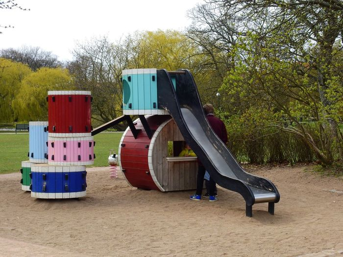 Tree Sand Outdoors Playground Playground Equipment Leisure Old Fashion Style Park Wooden Colorful Slide Malmö Sweden