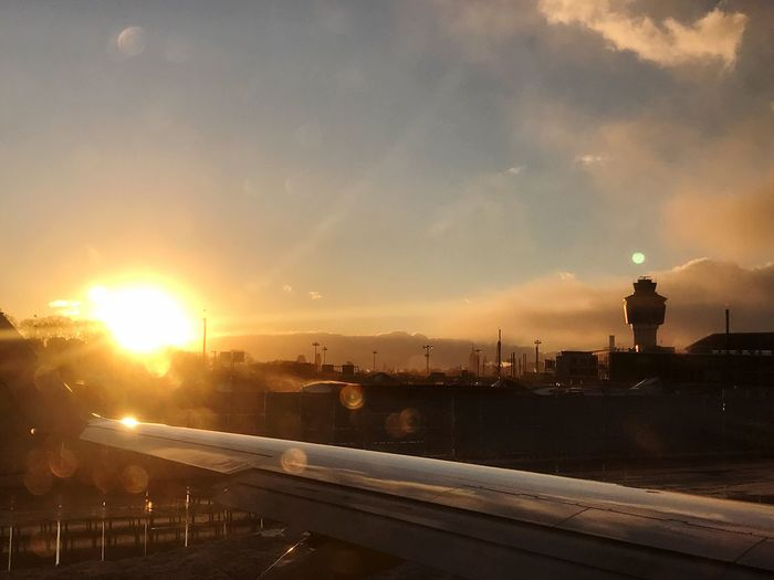 No Filter Sunset Transportation Sun Lens Flare Building Exterior Architecture Sky No People Airplaneview On The Move Laguardia Laguardiaairport Queens Queens NYC Snow Winter Snow Storm Air Traffic Control Tower Dirty Window EyeEmNewHere Adapted To The City