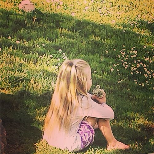 My granddaughter gathered a bouquet of clover for her mother. She is patiently waiting for her mother to arrive to give this priceless gift to mommy. Enjoying Life Check This Out Copy Space Beauty In Nature Love Tranquil Scene Child Bouquet Springtime