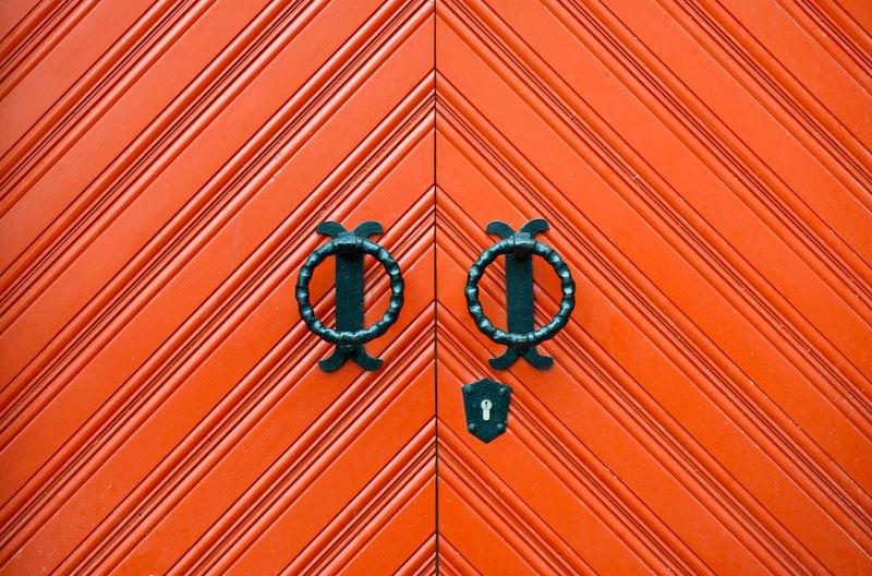 Close-up view of orange design