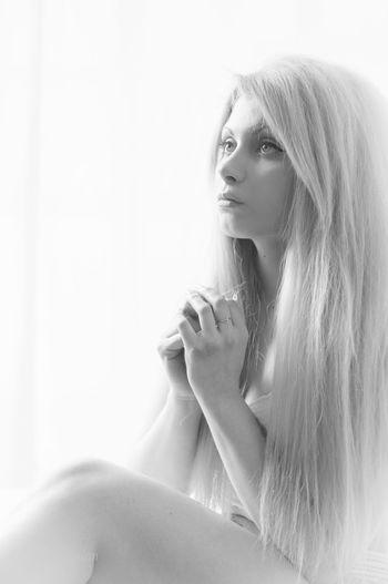 Aitana. Beauty Black And White Blackandwhite Blancoynegro Blonde Boudoir Coruña Galicia Highkey Long Hair Model Monochrome Person Photoshoot