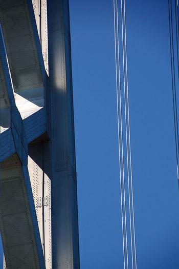 Blue Bridge Clear Sky Close-up No People Oakland Bay Bridge Outdoors Sky Steel Sunlight