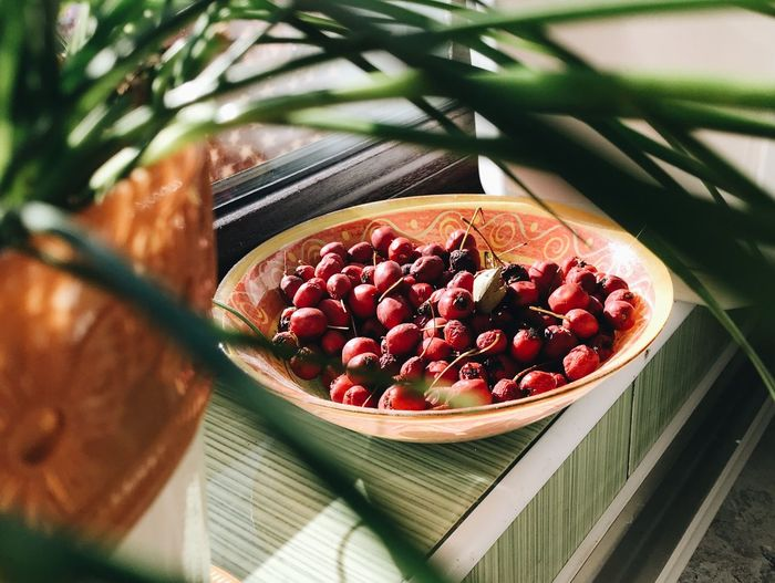 High Angle View Of Berries In Plate On Window Sill