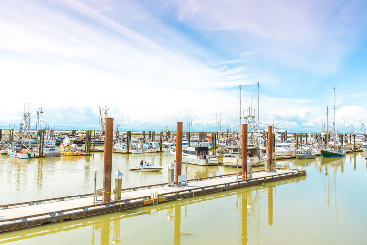 STEVESTON, BRITISH COLUMBIA, CANADA - JUNE 2017: pier and boats in the marina by the famous Fisherman's Wharf in historic Steveston. Blue Skies British Columbia, Canada Calm Fisherman's Wharf Fraser River Marina Morning Steveston Travel Boats Day Editorial  June Landscape Mast Moored Outdoors Sky Spring Sunshine Tourism Water Water Waterfront Waterfront