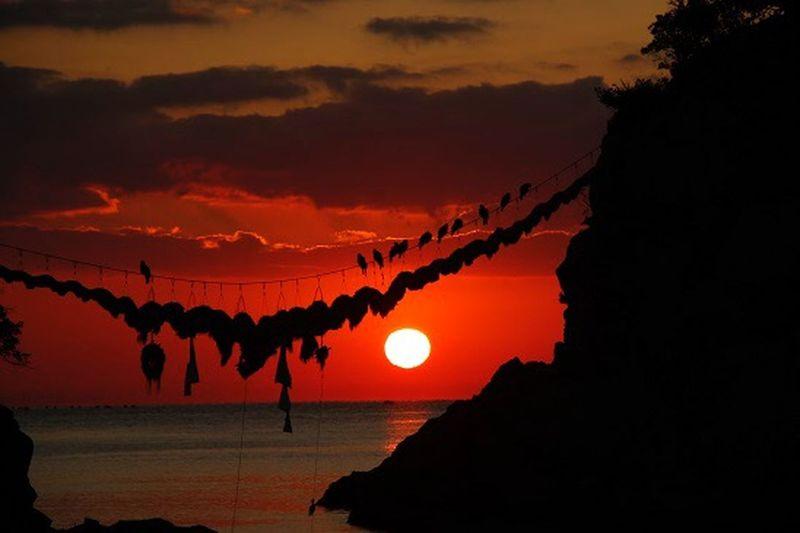 大分県 豊後水道の二見ヶ浦 日本 九州 Japan Landscape Sun Red Birds 日の出 Sunrise Sky 空 Beautiful Sea 海 二見ヶ浦 豊後水道 大分県 Cloud - Sky Silhouette Beauty In Nature Orange Color Scenics - Nature Nature Dramatic Sky Romantic Sky