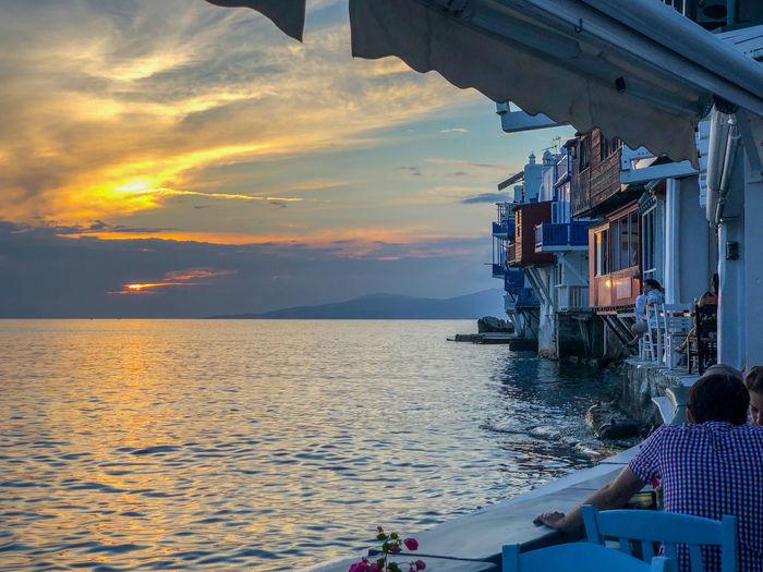 Mykonos sunset, seen from the Little Venice restaurants Aegean Sea Aegean Islands Horizon Over Water Restaurant Scenics - Nature Sea Sunset Travel