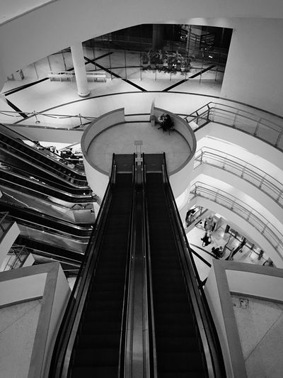 Built Structure Architecture Modern Indoors  Escalator Railing Low Angle View Shopping Mall No People Staircase Steps And Staircases Futuristic Day Moving Walkway  Blackandwhite City Life Alone Flying High Welcome To Black