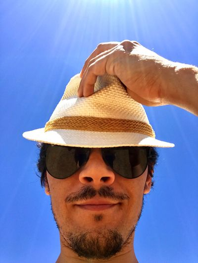 Good morning man Summer Sunny Morning Sunny Day Light Man Good Morning Morning Black Glasses Sun Hat Sunglasses Headshot Day One Person Mid Adult Sky Young Adult Front View Sunlight Clear Sky Portrait Outdoors Adults Only Adult Close-up People Blue One Man Only This Is Masculinity