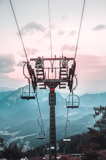 Cable Sky Cloud - Sky Nature Outdoors Overhead Cable Car Day Electricity  Tree Beauty In Nature Scenics Mountain No People Ski Lift Technology Sea