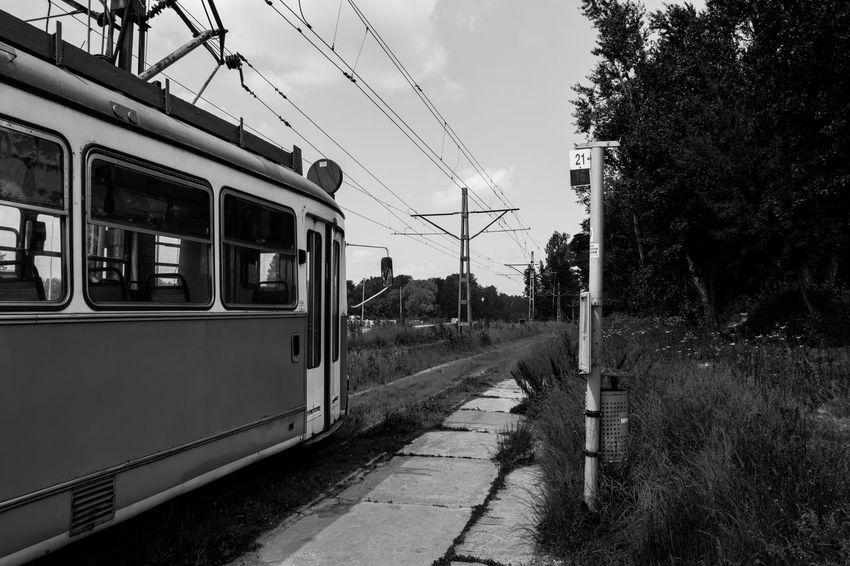 Black And White Blackandwhite Blackandwhite Photography Diminishing Perspective Krakow No People Nowahuta Outdoors Poland Public Transportation Railroad Track Train Tram