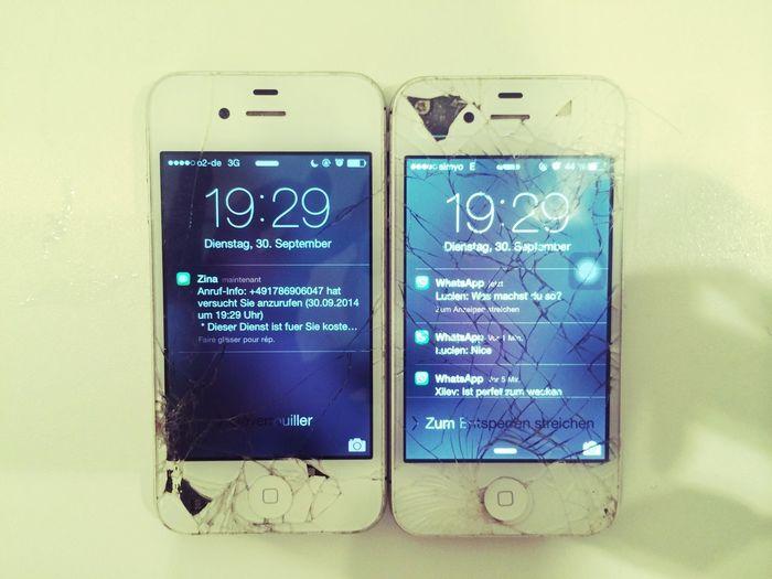 Smashed White IPhone Things Organized Neatly