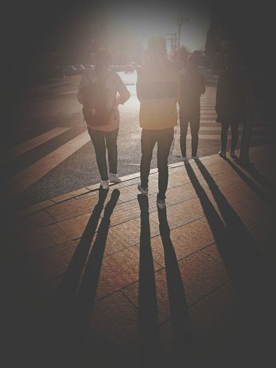 Low Section Shadow Standing Human Leg Sunlight Silhouette Togetherness