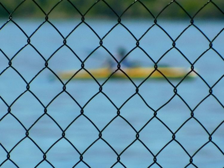 Kyaking Chainlink Fence Security Metal Full Frame Sky No People Backgrounds Day Close-up Outdoors