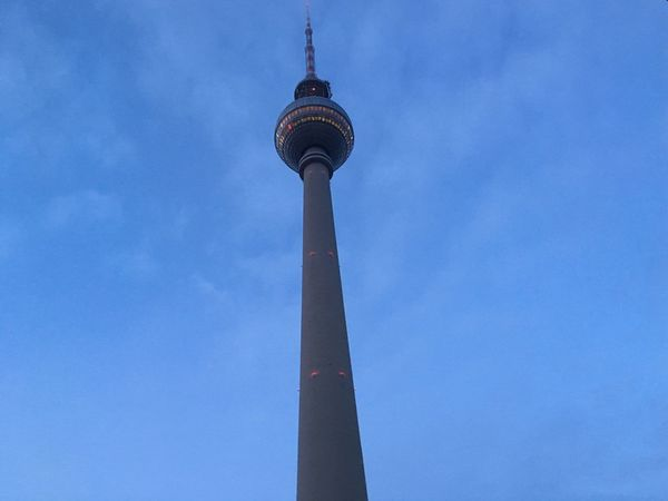 To the left Very Low Angle View Build Structure Day Beton Grey Blue Blue Sky Spine TV Tower Fernsehturm Thattoweragain