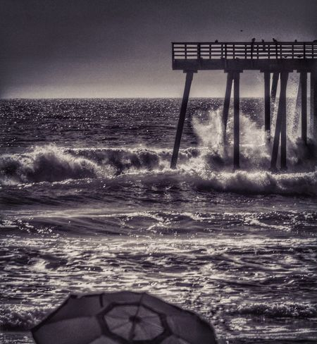 Pismo Pier Sea Horizon Over Water Water Beach Nature Beauty In Nature Scenics Tranquility Outdoors Built Structure Sunset Sky Wave No People Clear Sky Architecture Day California Eye4photography  EyeEm Monochrome Beachphotography