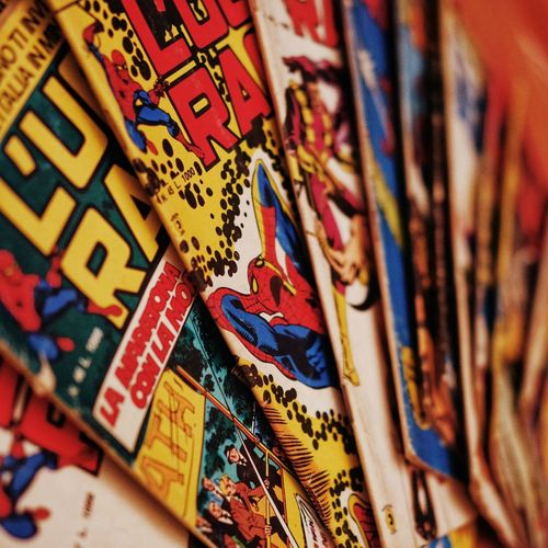 Selective Focus Large Group Of Objects No People Multi Colored Close-up Art And Craft Creativity Indoors  Variation Still Life Full Frame Backgrounds Craft For Sale Text Market Focus On Foreground Comics Stan Lee Uomoragno Spiderman Vintage