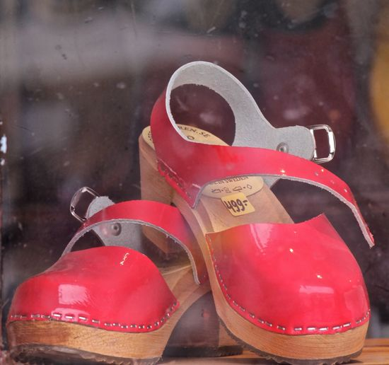 Malmö city center Behind The Window Clogs Close-up Day Malmö Malmö, Sweden No People Red Red Clogs Selective Focus Shop In Malö Shopping Shose Swedish Clogs Swedish Shoses Swedish Style Tradicional Sweden Turistic Places Woman Clogs