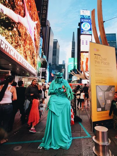 Miss Liberty מייסטריט Newyork ShotOnIphone IPhoneX מייאייפון10 מייניויורק City Architecture Building Exterior Street Real People Group Of People Built Structure The Art Of Street Photography
