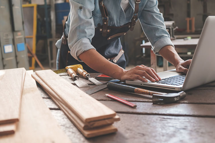 Man working on table