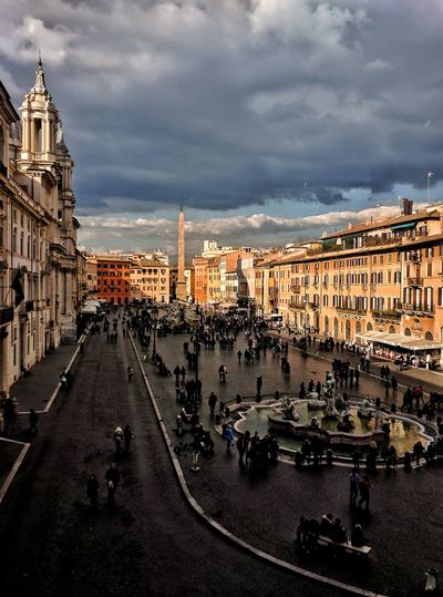 """""""Shadowy Navona"""" - Feb. '17 - Roma Italy Italia Photobydperry Rome Fountain Church Street Streetphotography Piazza Navona Obelisk Fountains Fountain Piazza City Cityscape City Street Sky Architecture Building Exterior Built Structure Cloud - Sky Old Town Street Scene Cobblestone"""