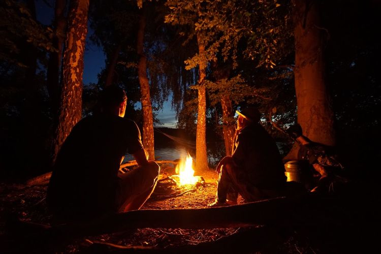 Friends Sitting By Campfire In Forest At Night