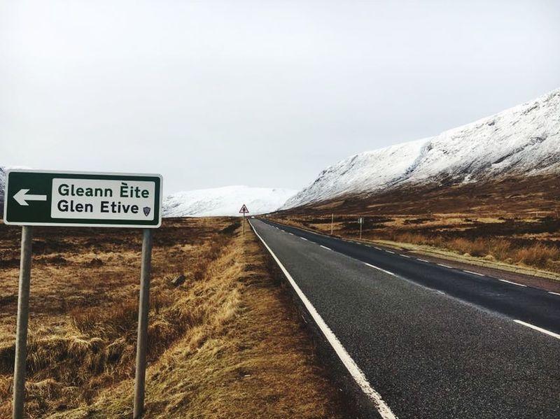 Glencoe Loch  Scotland Glencoe Mountain Resort Home Happy Love Glencoe Scotland Road Text The Way Forward Communication Road Sign Outdoors Transportation