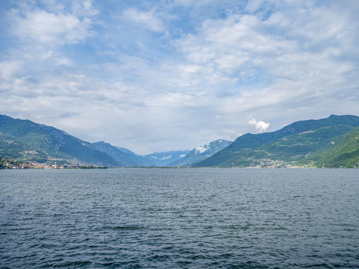 Iseo Beauty In Nature Blue Cloud - Sky Day Iseo Lake Italy Lake Mountain Nature No People Outdoors Scenics - Nature Sea Sky Tranquil Scene Tranquility Travel Destinations Water Waterfront