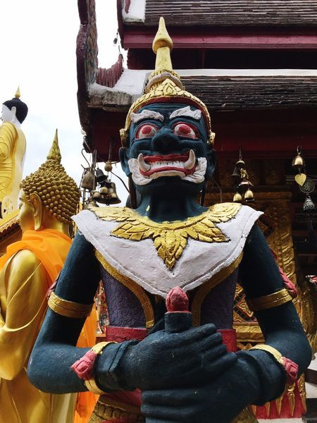 Statue Religion Male Likeness Spirituality Sculpture Human Representation Art And Craft Gold Colored Place Of Worship Low Angle View No People Gold Idol Day Outdoors
