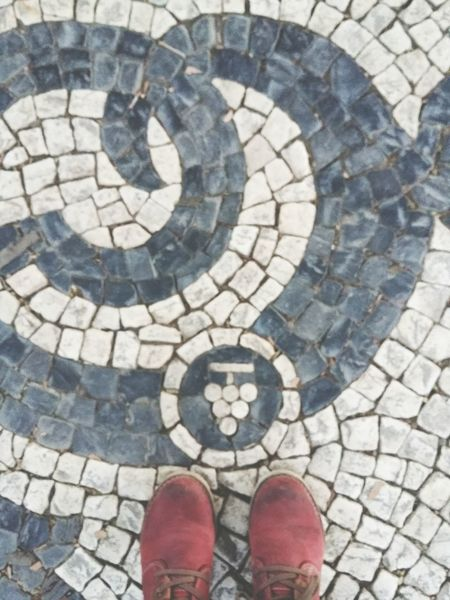 Portuguese cobblestone. Lisbon Lisboa Portugal Lisbonlovers Cobblestone Cobblestone Streets Floortraits Feet Boots Shoe Human Leg Low Section Cobblestone High Angle View Human Body Part Personal Perspective Human Foot Standing Pattern One Person Sidewalk Lifestyles Street