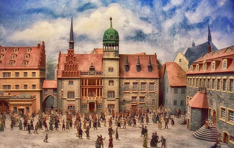 Diaorama Rathaus und Waage Halle (Saale) Marktplatz Rathaus Architecture Built Structure City History Medieval Architecture Tourism Town Square Travel
