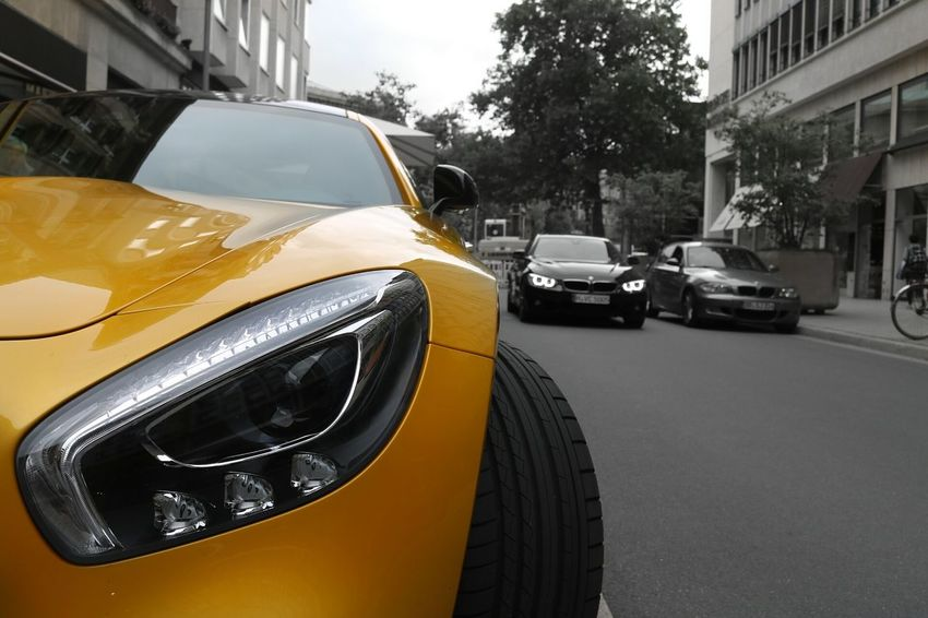 Mercedes Amg GTS Land Vehicle Car Transportation Street City Road Yellow Outdoors Day City Life Rush Hour Journey Modern Luxurylifestyle  Luxury Cars Photographer Photo Photography Roadside Focus On Foreground Mercedes Mercedesamg Mercedes Benz