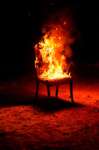 Chair in fire