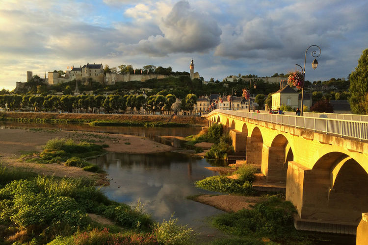 Architecture Water Bridge Cloud - Sky River Arch Bridge Nature No People Outdoors History Chinon France Castle Loire Valley Sunset Bagus Reflection Taken With Iphone 5