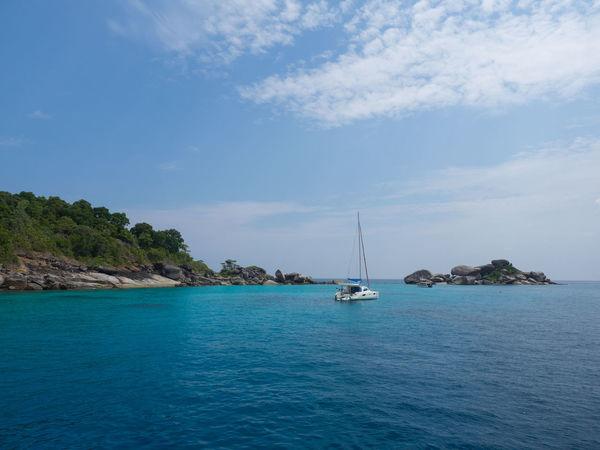 Blue Catamaran Coastline Horizon Over Water Nautical Vessel Outdoors Scenics Sea Similan Islands Thailand Tranquil Scene Water