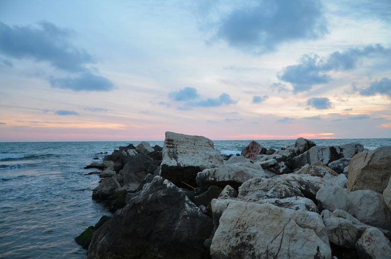 Sea, Rock, Sunset. Beach Beauty In Nature Blue Wave Cloud Cloud - Sky EyeEm Nature Lover Horizon Over Water Idyllic Nature Outdoors Remote Rock Rock - Object Rock Formation Scenics Sea Seascape Shore Sky Sunset Sunset_collection The KIOMI Collection Tranquil Scene Tranquility Water