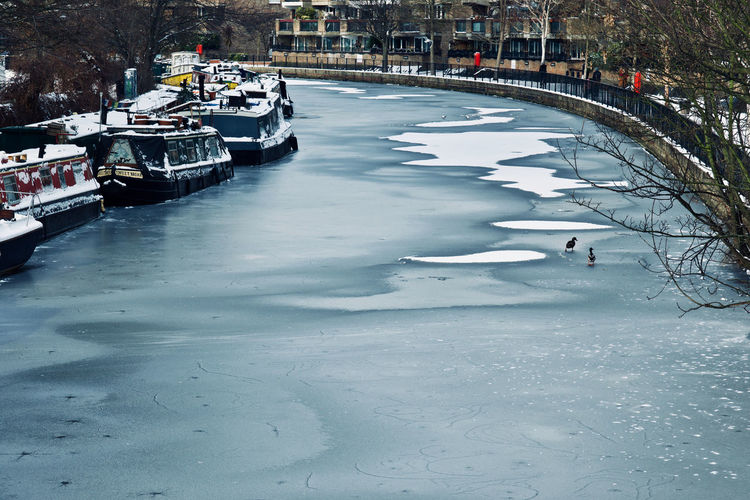 Grand Union Canal February 2018 Grand Union Canal Maida Vale Canals And Waterways London England 🇬🇧 Cold Temperature Ice Nautical Vessel Snow Mode Of Transportation Frozen Moored Waterfront Nature Winter Winter Landscape Cold Weather Weather Condition Freezing Freezing Cold