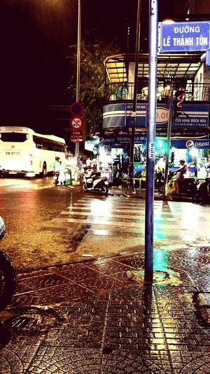 Le Thanh Ton street. HCM City Nightlife Rain Outdoors First Eyeem Photo