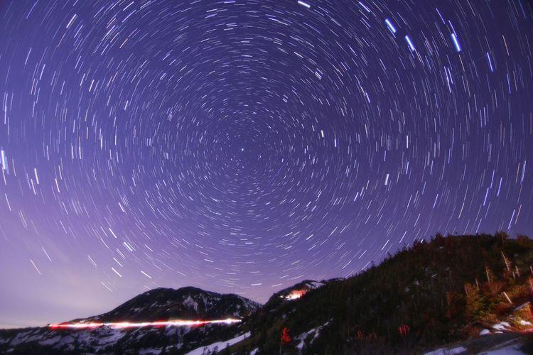 まさかの😱草津白根山活動の影響により、国道292号線群馬県側❝万座温泉三叉路〜草津殺生河原間❞が一時通行止め。😶GWも近いのに~💦 銀河鉄道の夜♪ Astronomy Galaxy Star Trail Milky Way Star - Space Mountain Snow Space Winter Illuminated Space And Astronomy