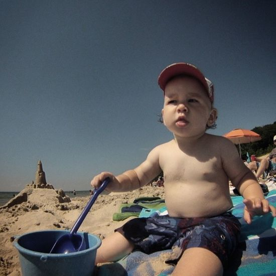 Leland at the Beach for the first time. Milestones Frankfort